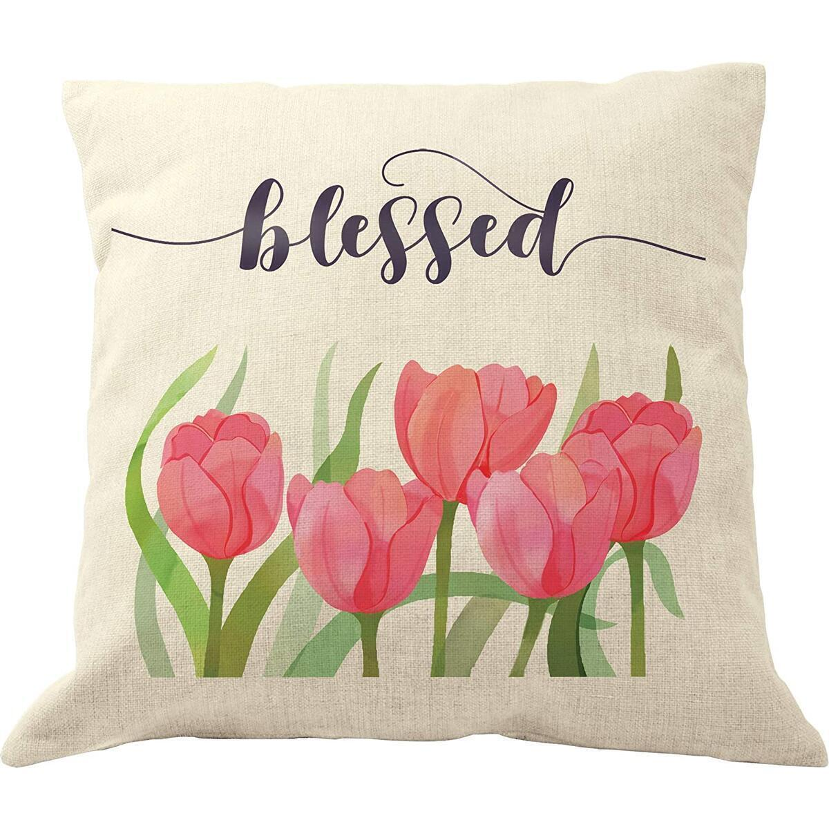 DrupsCo Blessed Pillow Cover - 18 x 18 Blessed Throw Pillow, Blessed Pillow