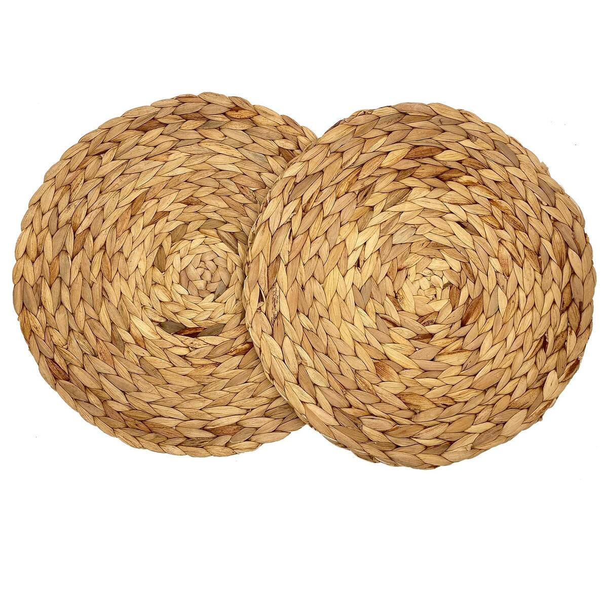 Royor Rattan Placemats, Round Placemats for Dining Table, Non-Slip Weave Placemat