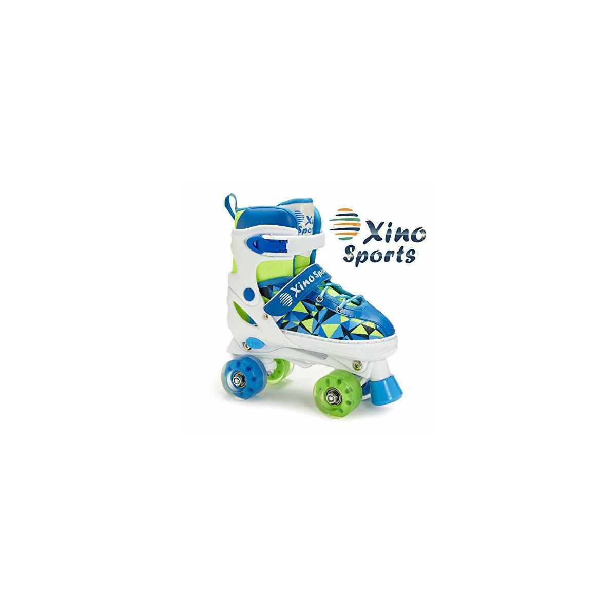 BLUE SKATES ONLY - Xino Sports Adjustable Roller Skates for Children - Featuring PU Wheels, Awesome-Looking, Safe and Durable Roller Skates, Perfect for Boys and Girls!