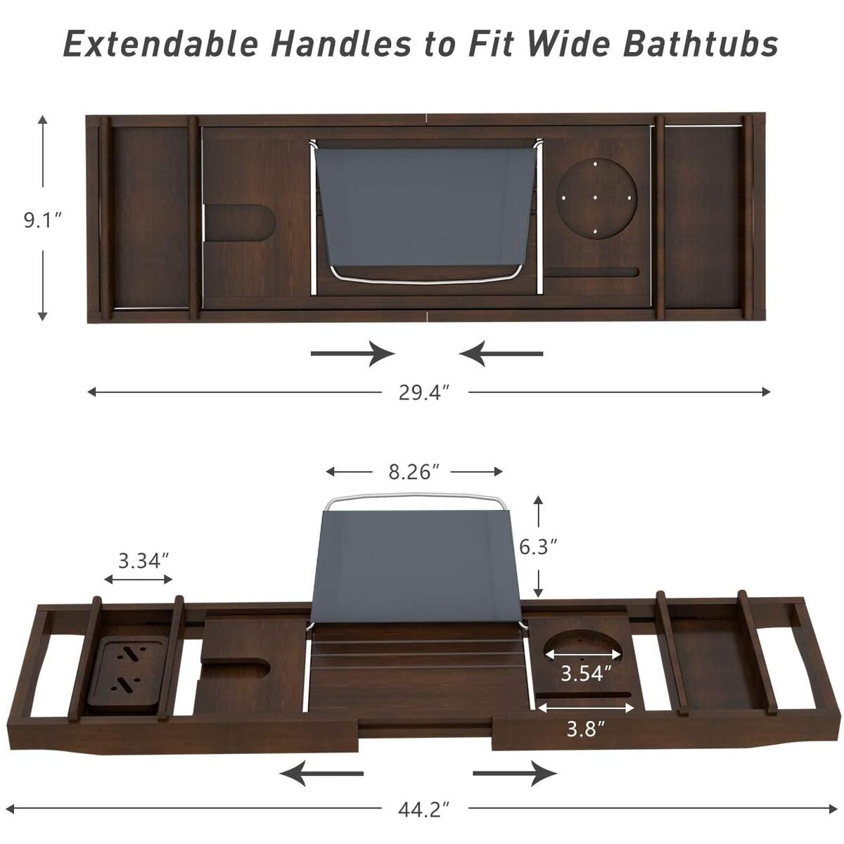 Domax Bathtub Caddy Tray Expandable Bamboo Tub Tray for Luxury Bath with Book Holder and Free Soap Dish Brown