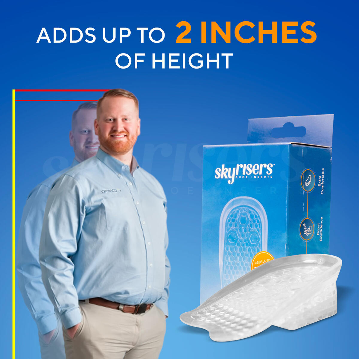 Sky Risers - Height Increase Insoles (1 Pairs) 4 Layer Silicone Gel Heel Cushion Pads Inserts, Increased Height Shoe Inserts for Men & Women with Advanced Comfort & Ergonomics
