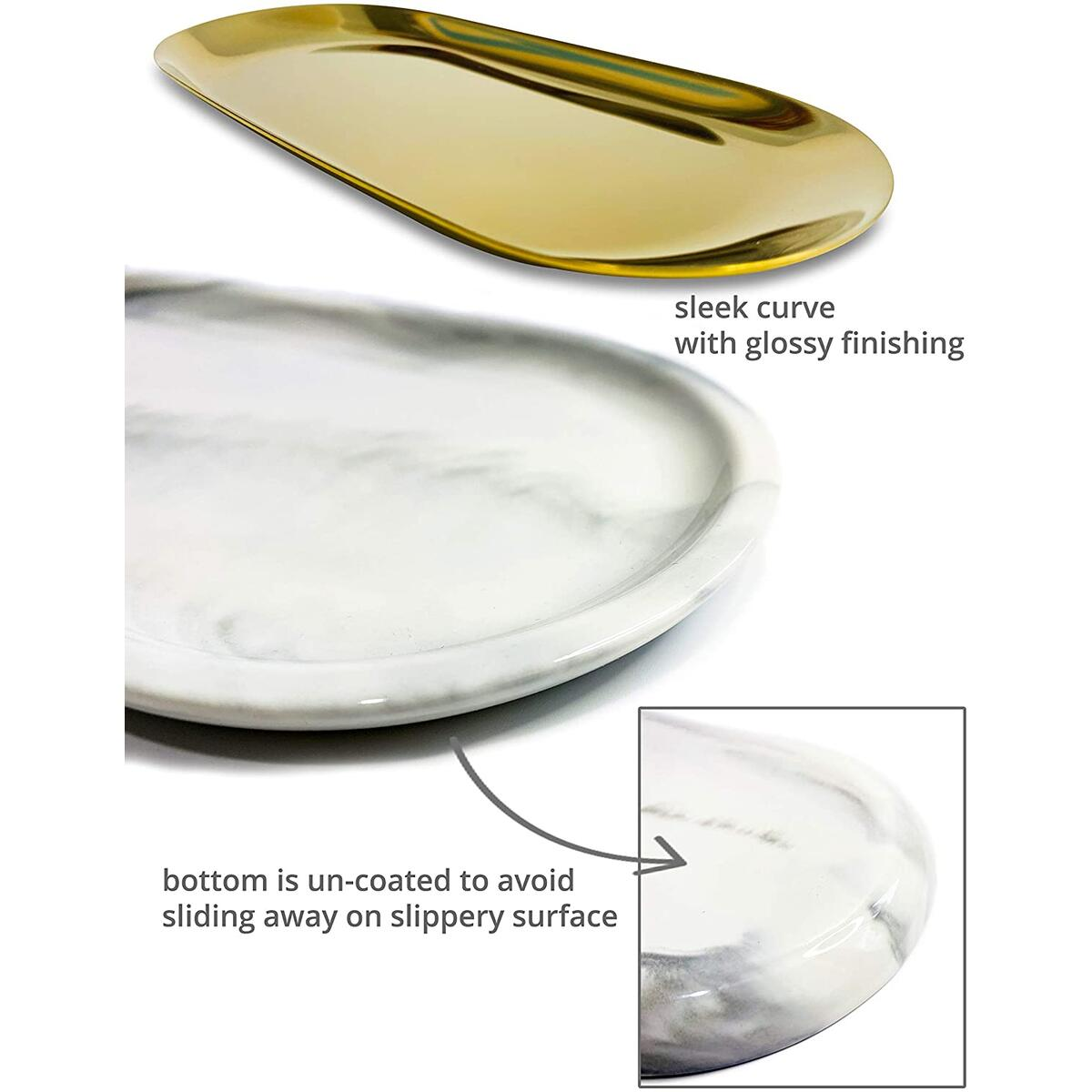 White Ceramic Marble Pattern Tray with Stainless Steel Gold Trinket Tray, Both Decorative and Storage Function,Multiple Use for Your Bathroom Countertop Or Bedroom Vanity