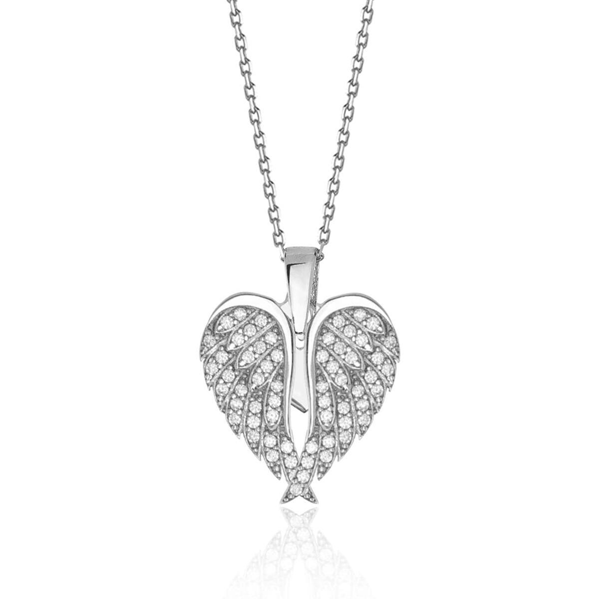925 Sterling Silver Angel Wing Necklaces for Women,Heart Necklaces for Women, Cubic Zirconia Angel Wing Heart Pendant Charm Necklace for Women, Asthetic Jewellery for women