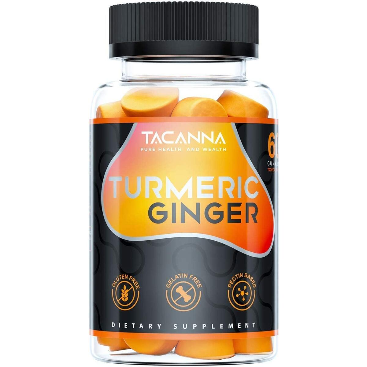 Tacanna Turmeric Ginger Gummies - Curcumin Joint Support - Pain Relief, Antioxidant, Anti-inflammatory. All Natural Factors Chewable Ginger, Turmeric Chews for Adults & Kids, Curcumin 60 Count