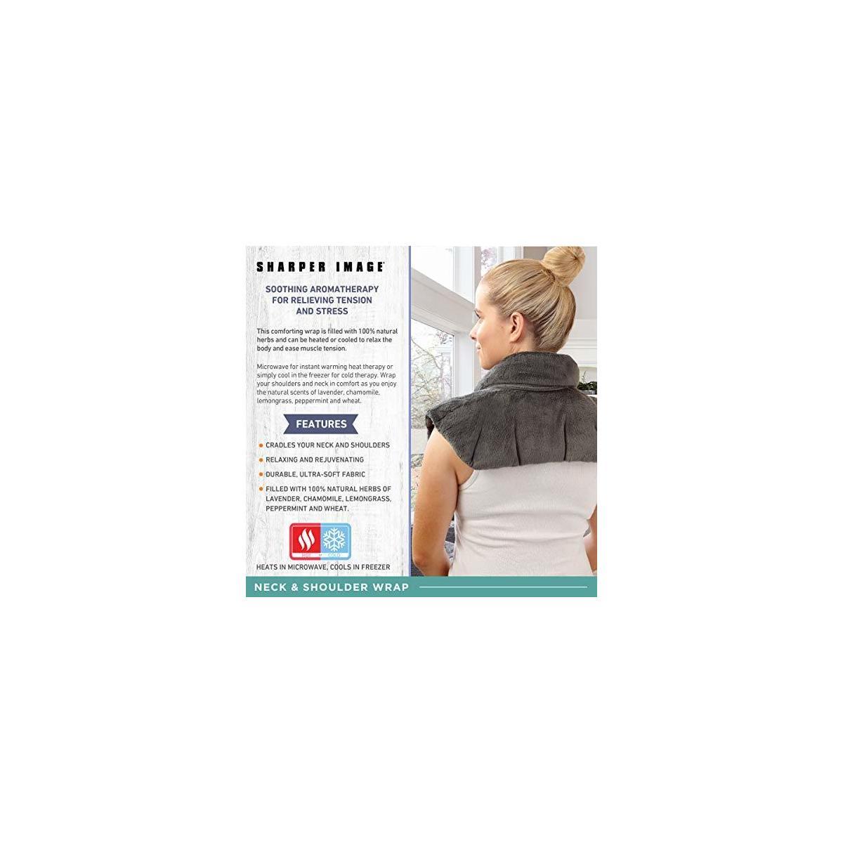 SHARPER IMAGE Hot & Cold Herbal Aromatherapy Neck & Shoulder Plush Wrap - Grey