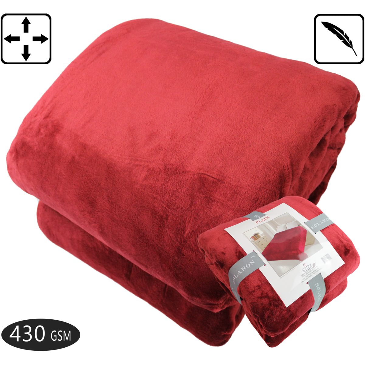 FOHOG COLLECTION Queen Blanket Red X Large Size 430 GSM Thick Flannel Throw Korean Mink Plush Fleece All Season Medium Weight Thermal Sofa Couch Bed 88 x 95 inches
