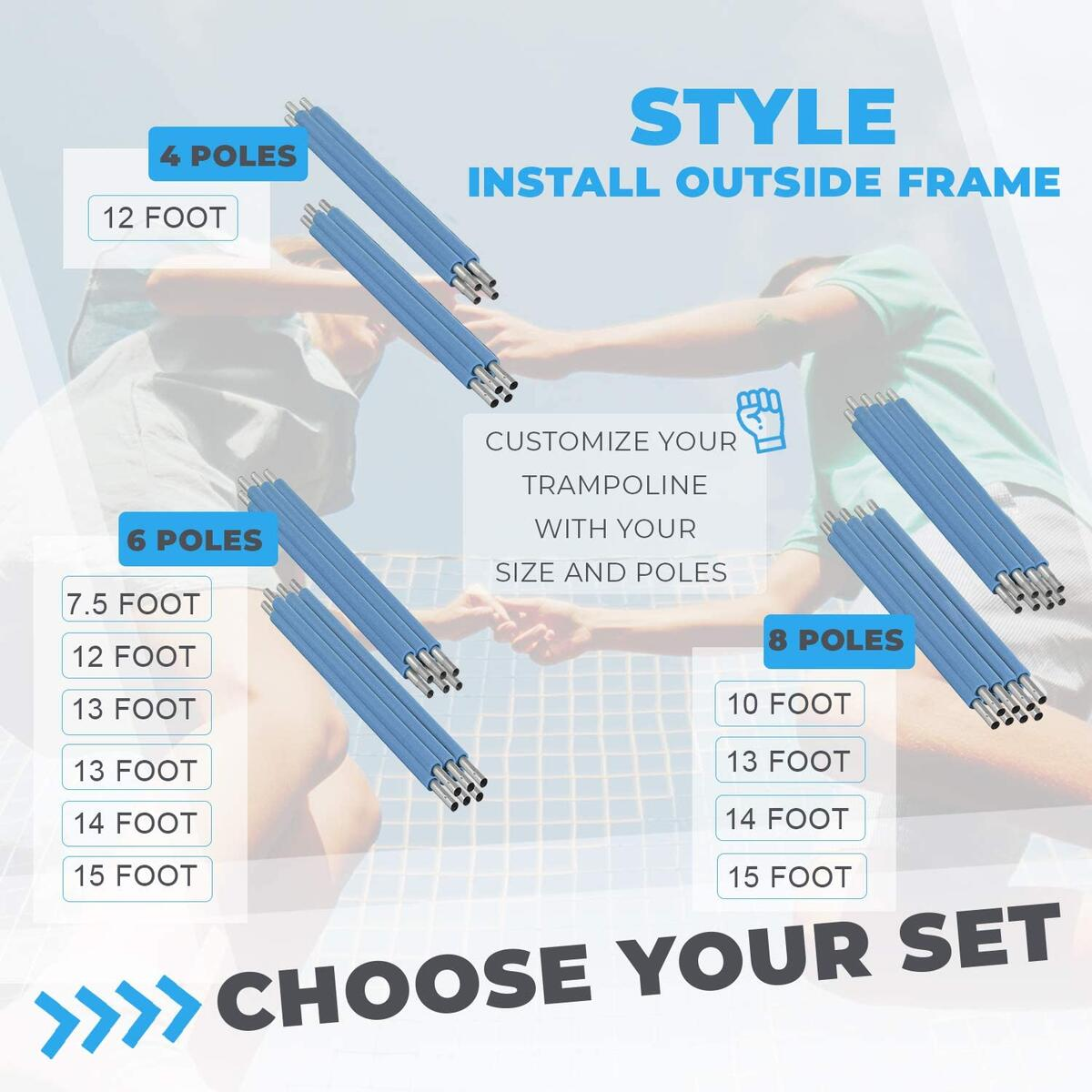 INSTALLS OUTDSIDE FRAME | 15 FOOT, 6 POLES - Replacement net and poles For 15 foot trampoline