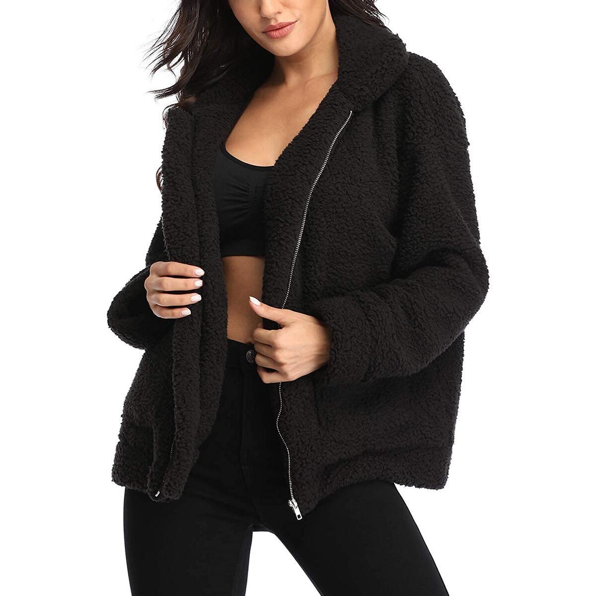 Women's Teddy Bear Sherpa Jacket Coat Warm Winter Faux Fur Shearling Jacket Coat with Pocket(Multi Variation Applied )