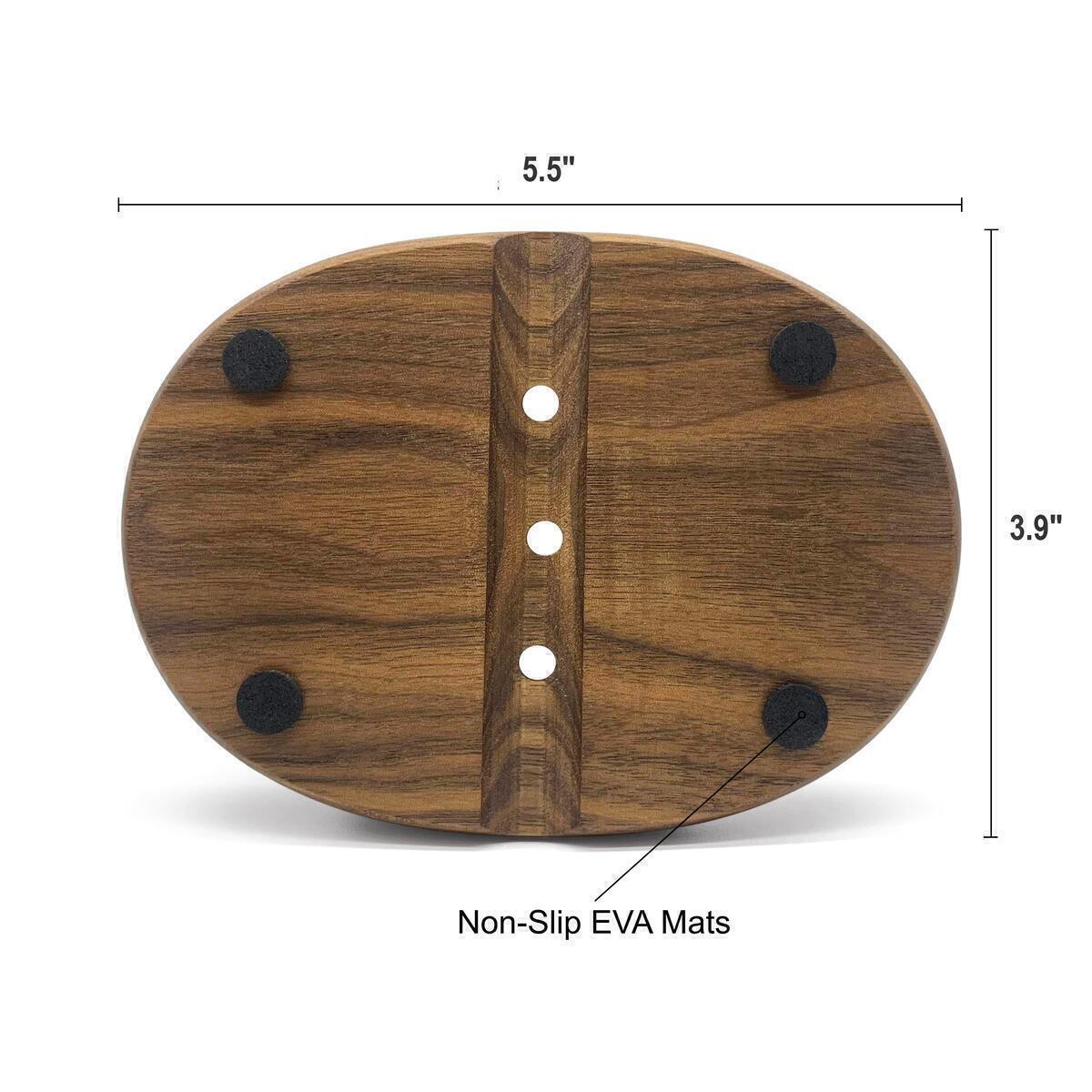 Walnut Wooden Soap Dish - Stylish Oval Design Bar Soap Holder