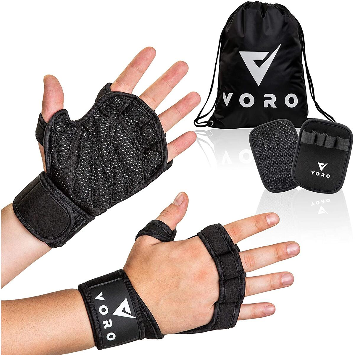 Voro Workout Gloves Ventilated Weight Lifting Gloves with Wrist Wraps, Flexible Full Palm Protection for Weightlifting, Powerlifting, Crossfit WODs, Cross Training Exercise, Men & Women