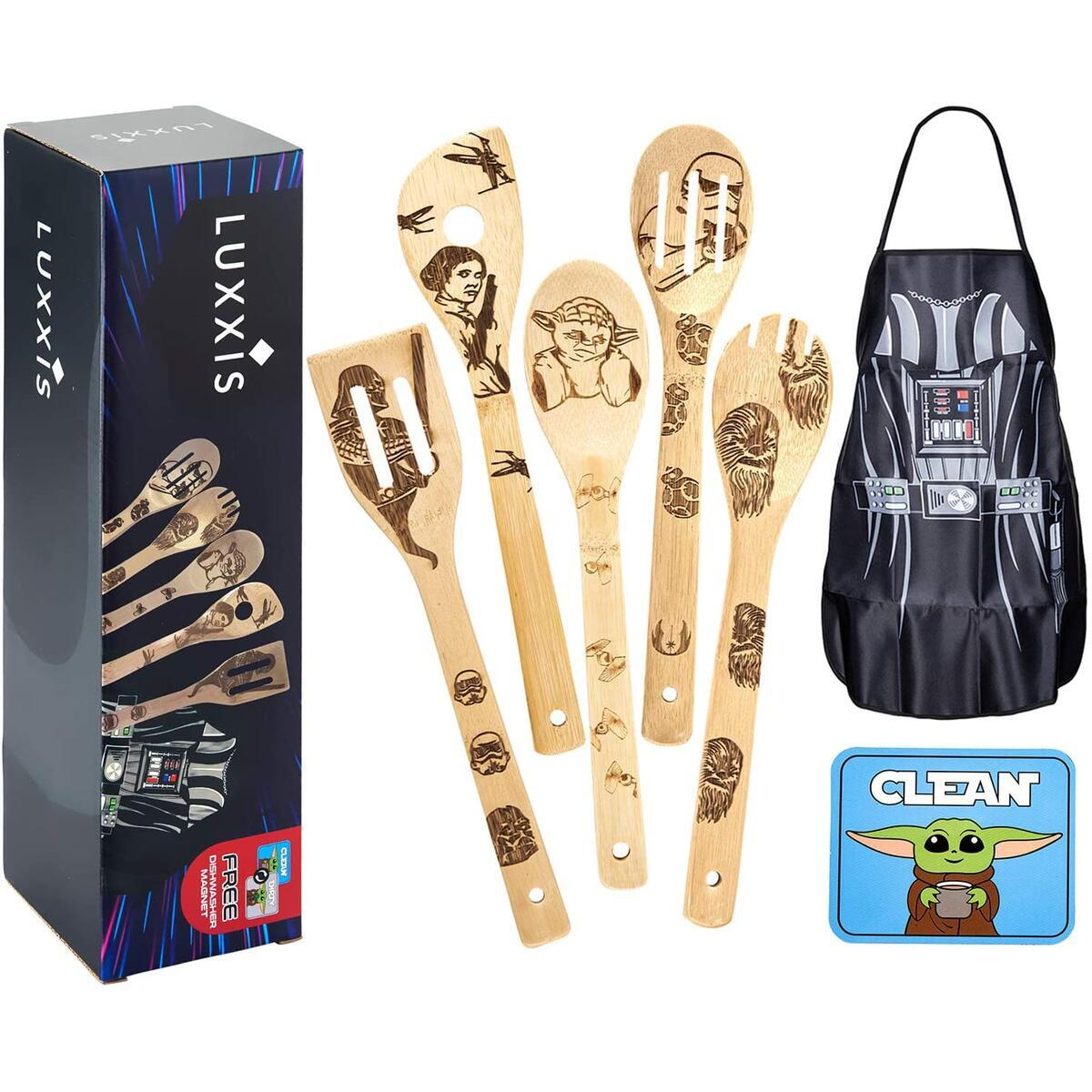 Luxxis Star Wars Cooking Utensils 7PC Set - 5X Organic Bamboo Spoons, 1X Kitchen Star Wars Apron and 1X Dishwasher Magnet – Premium Cookware Darth Vader Apron – Double-Sided Magnet Stickers