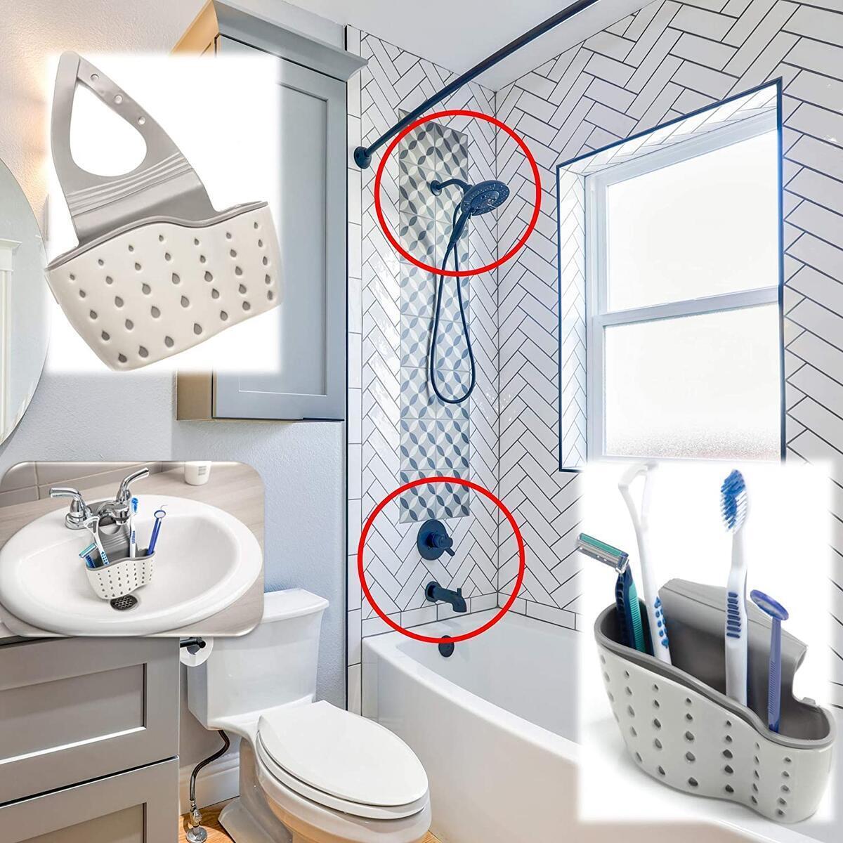 HappyKitchen Sink Basket with Sink Caddy - Kitchen Triangular Sink Filter - Oganize and Maintain Cleanliness of sink - Triangular Sink Filter and Corner Sink Caddy fit in the corner of your sink