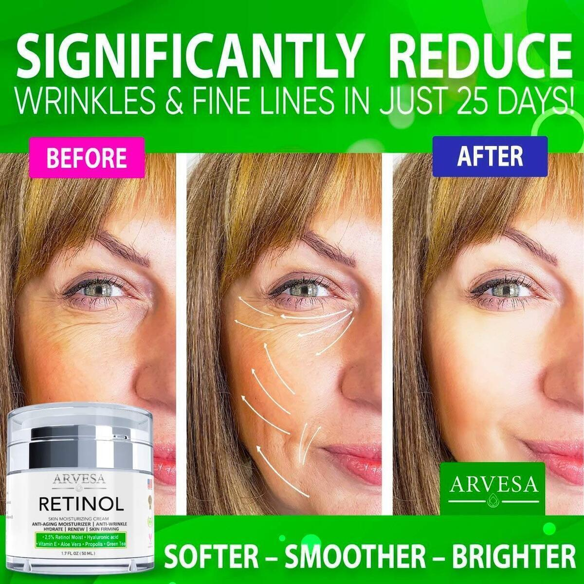 Anti Aging Retinol Moisturizer Cream for Face, Neck & Décolleté - Made in USA - Wrinkle Cream for Women and Men with Hyaluronic Acid and Active Retinol 2.5% - Best Day and Night - Results in 4 Weeks