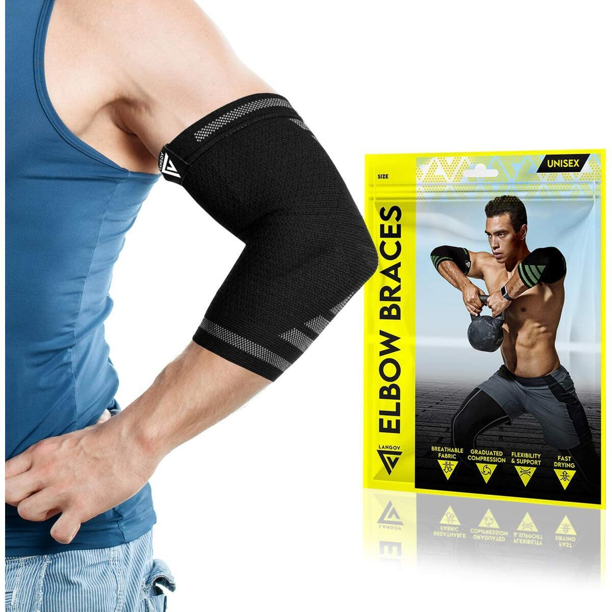Elbow Brace for Men and Women (Pair) – Elbow Compression Sleeve for Tendonitis, Weightlifting, Golfers & Tennis Elbow Brace - Arm Wrap Support for Reducing Pain in Arms