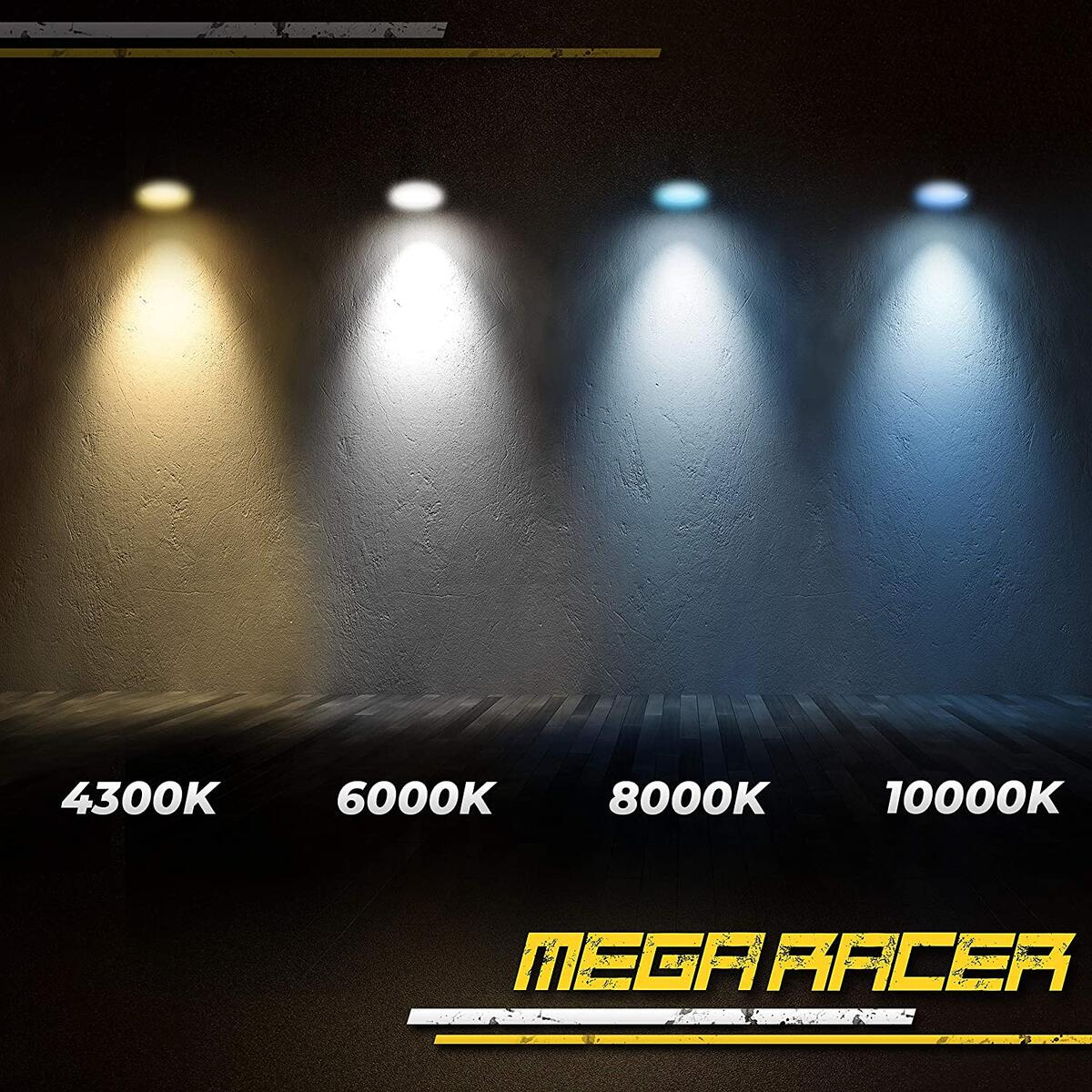 Mega Racer D4S HID Bulb 6000K Diamond White D4S/D4R Xenon HID Bulbs for Low Beam High Beam Replacement Bulbs, 35W 8000 Lumens Metal Stents Base 12V IP68 Waterproof, Pack of 2