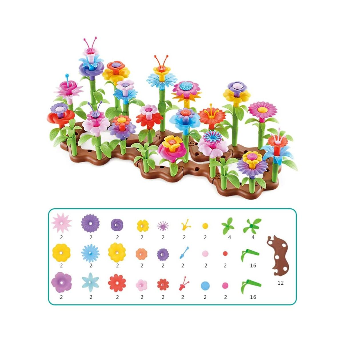 WISHTIME Flower Garden Building Toys 104pcs Girls Kids Toddles Gifts for 3 4 5 6 7 Year Old
