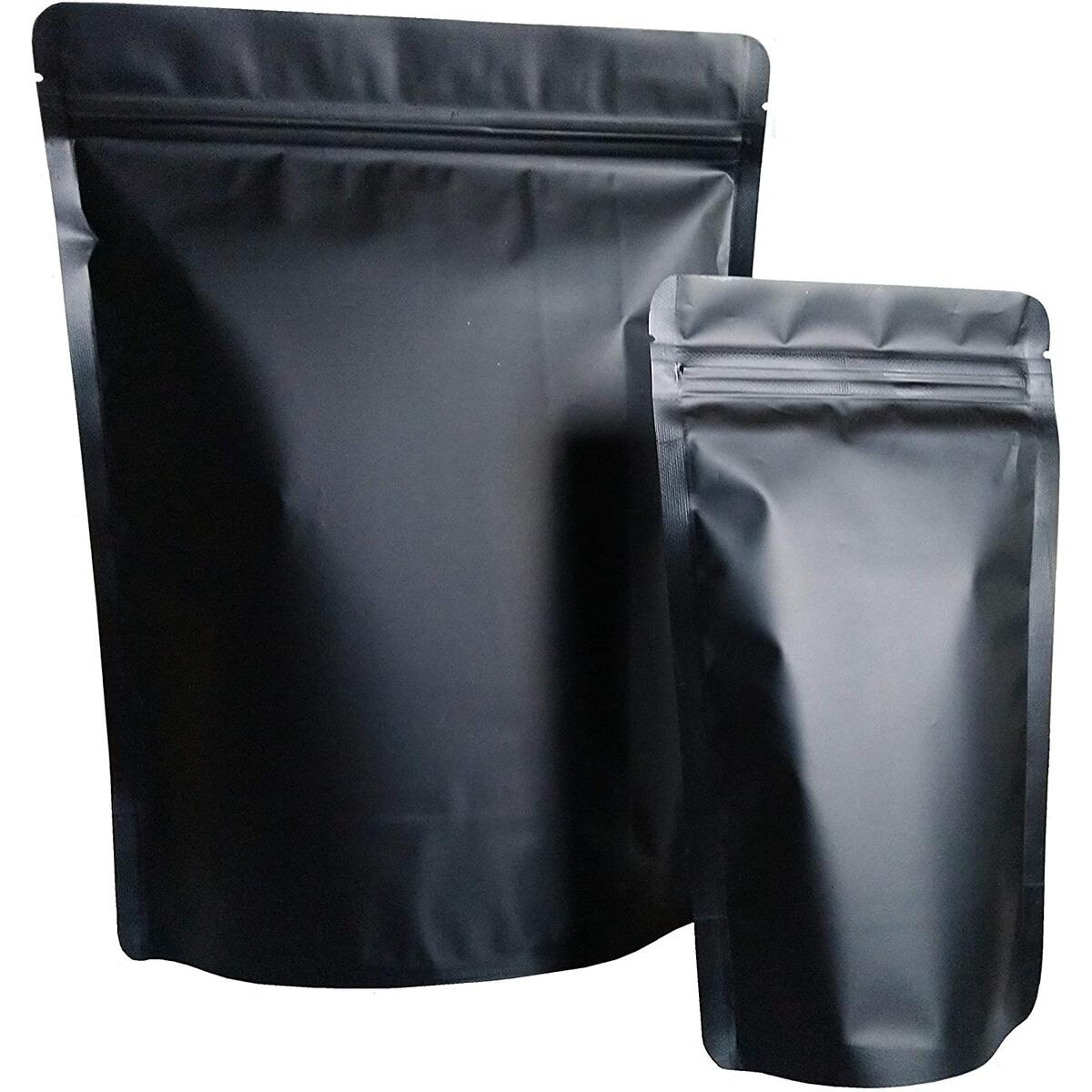 55 Pack Smell Proof Bags Mylar Bags Ziplock Stand Up 50 Pack 19.5 fl.oz (5.5X8 Inch) Plus 5 Pack 3.8 Quarts (9X13 Inch) Resealable Matte Black Airtight Zipper Pouch