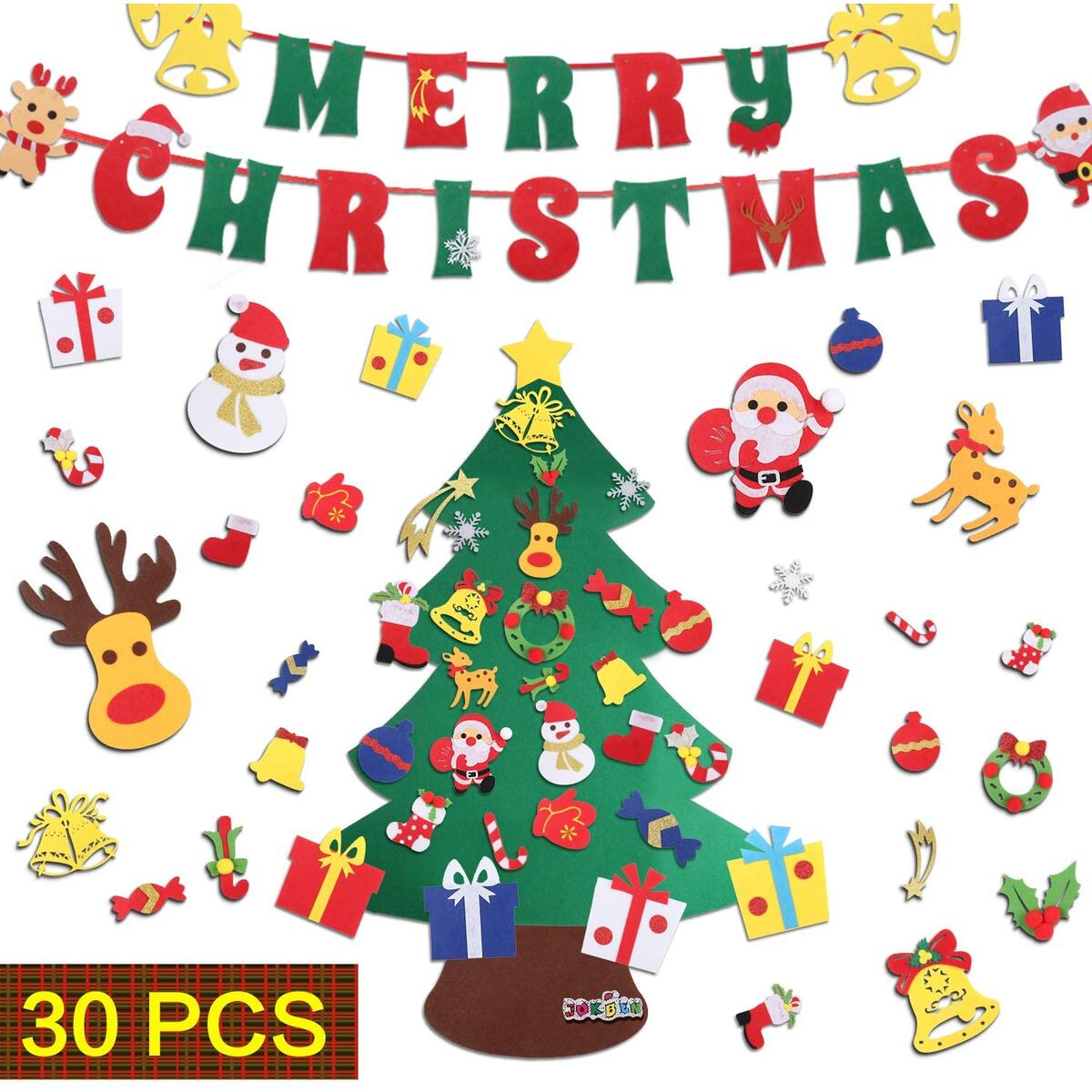 DIY Felt Christmas Tree Set, with Merry Christmas Felt Banner Wall Hanging Christmas Decorations with 30pcs Detachable Ornaments Xmas Gifts for Child