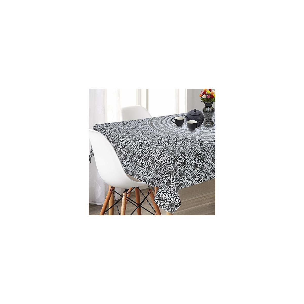 SHIVANSH CREATIONS Rectangle Table Cloth Cotton Linen Dust Proof Oblong Table Cover for Kitchen Dinning Tabletop Decoration (Grey Ombre)