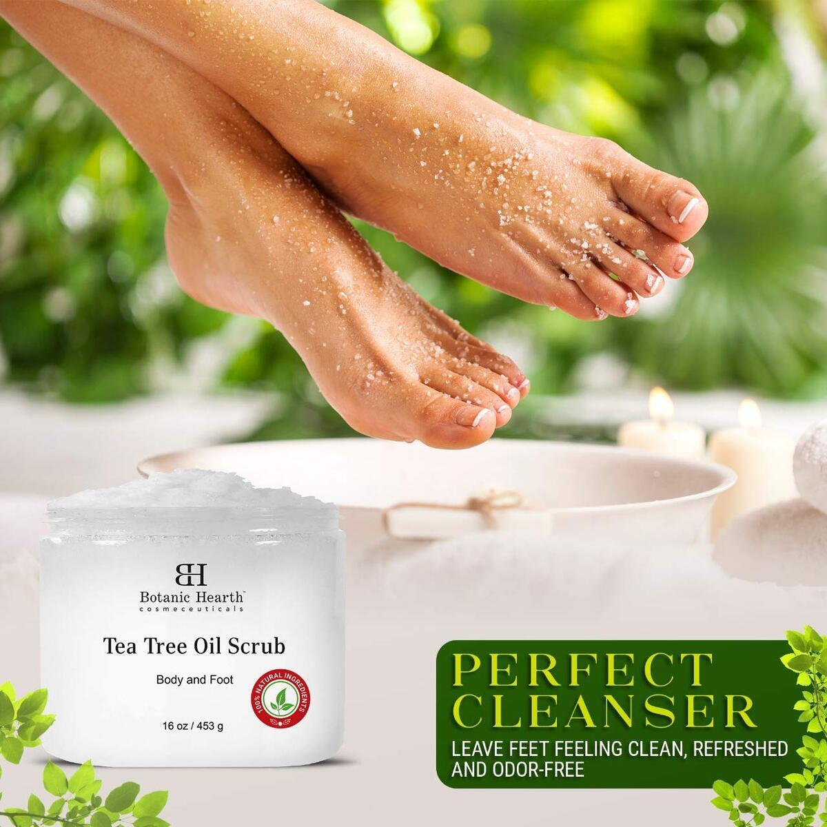Tea Tree Scrub for Body and Foot – 100% Natural, Exfoliating Scrub Made with Pure Tea Tree Oil – Nourishes & Promotes Clear Skin, Great Gift Item - Economical Size - 16 oz
