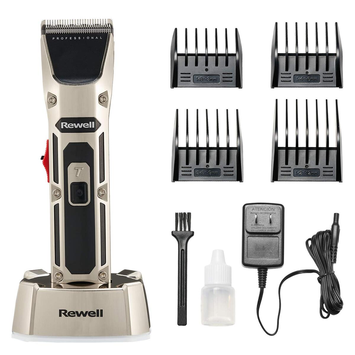 REWELL Cordless Hair Clipper, Professinal Hair Cutting Kit LCD Display, Hair Trimmer Set Precision Hair Cutting Groomer with Charging Base, Low Noise Design Rechargeable Lithium Battery