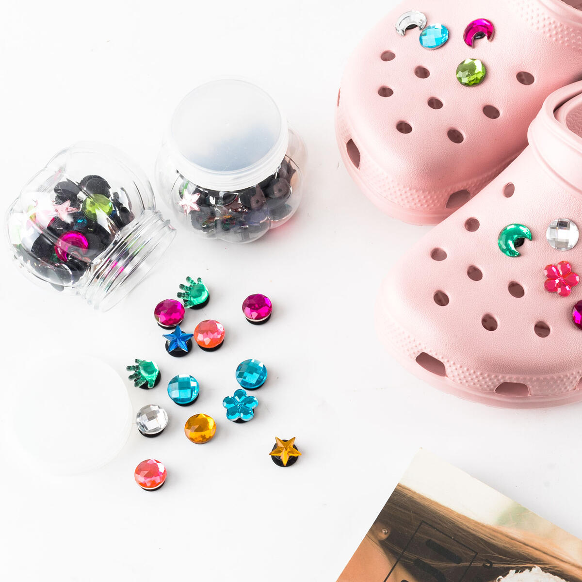 Shoe Charms for Crocs Clog Colorful Rhinestone Jibbitz