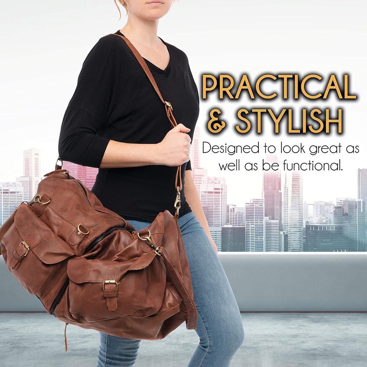 100% Leather Duffel Bag - Unique 3 Bags in 1 Design