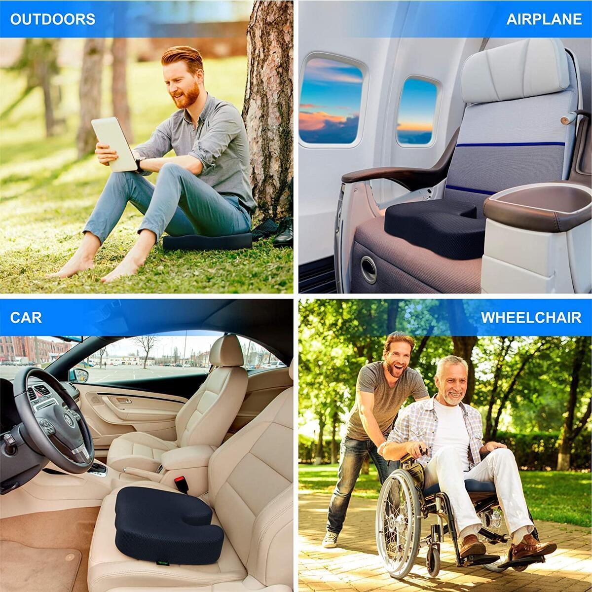 GRASSVERY Gel Pressure Relief Enhanced Office Chair Seat Cushion - Memory Foam Coccyx Cushion for Office Chair, Car, Desk, Wheelchair – Contoured Orthopedic Memory Foam Pain Relief Chair Pad (Black)