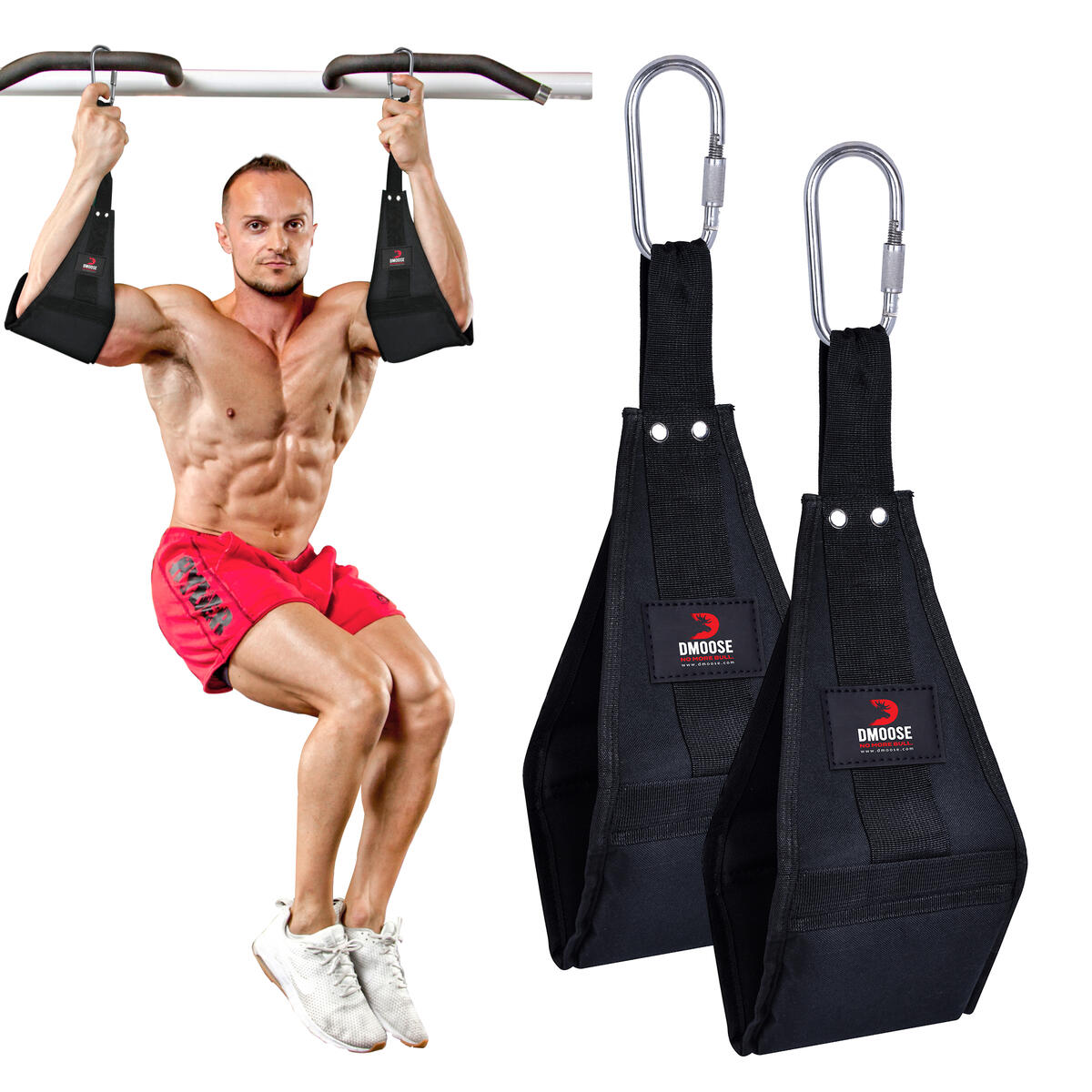 Premium Hanging Straps with Heavy Duty Carabiners for Abdominal Workout, For 6 pack abs