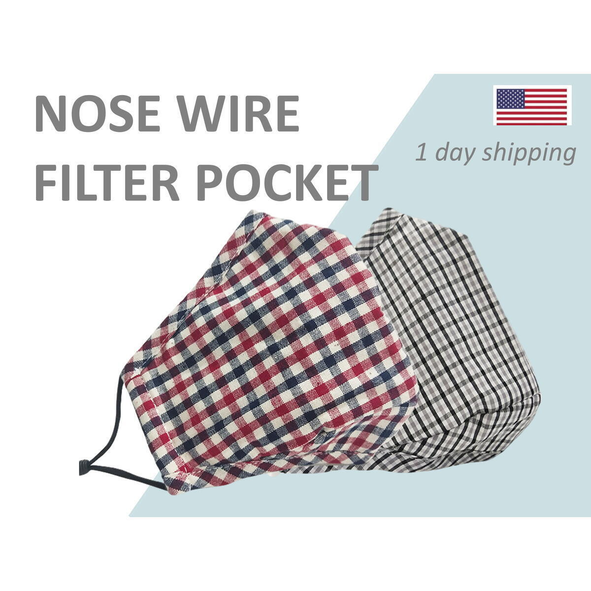 Face Mask with Filter Pocket for Kids, Teens, Adult with Nose Wire Cotton Reusable Washable Cloth covering Made in USA