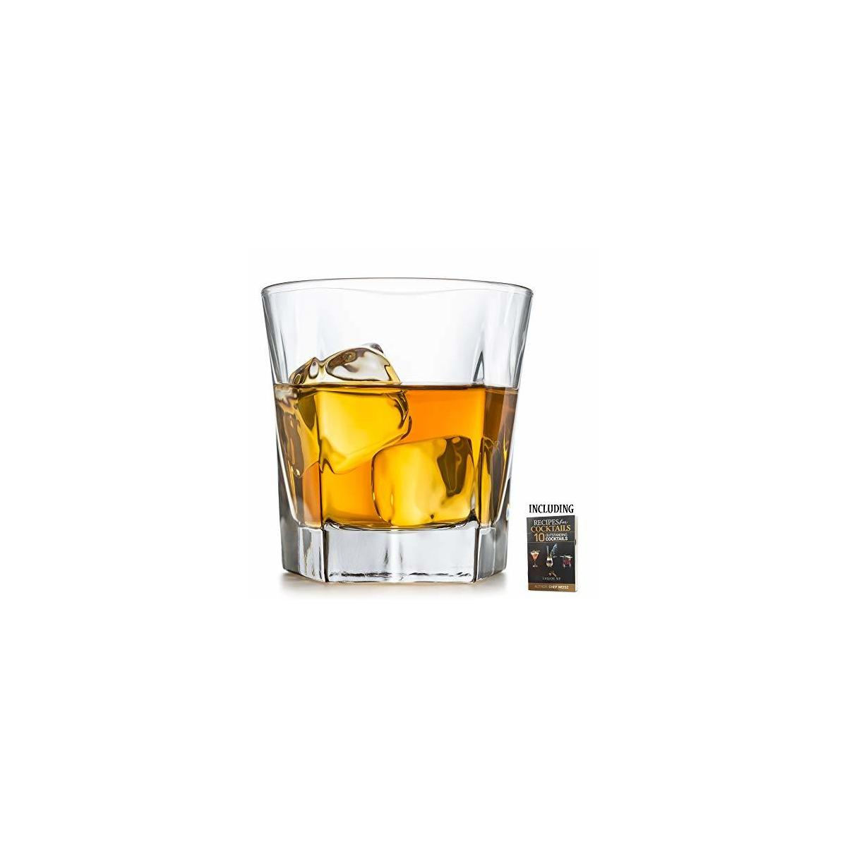 Whiskey Glass Set of 2 | Unique and Elegant Design | 12 oz Lead-Free scotch glasses | Strong Base whiskey glasses | 10 Bonus Refreshing Cocktail Recipes Enclosed in A Stylish Gift Box.