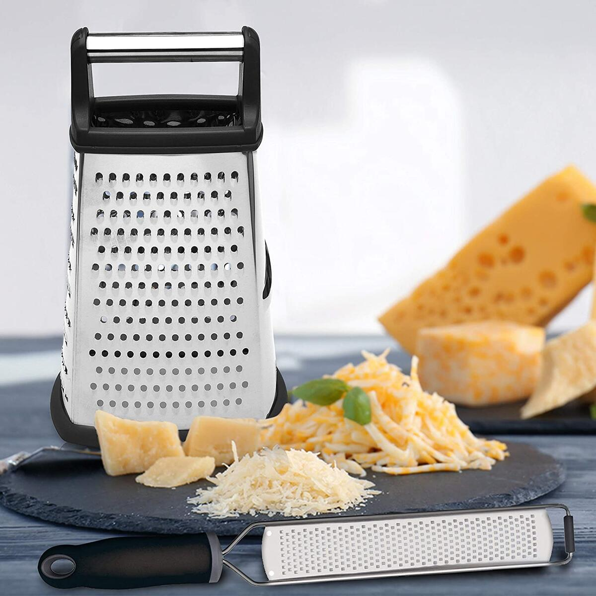 Box Grater Zester & Peeler Stainless Steel Kitchen Tools Set for Cheese, Lemon, Nutmeg, Fruits, Vegetables, Ginger, Cinnamon, Potato, Coconut - Durable, Dish washer and BPA Free
