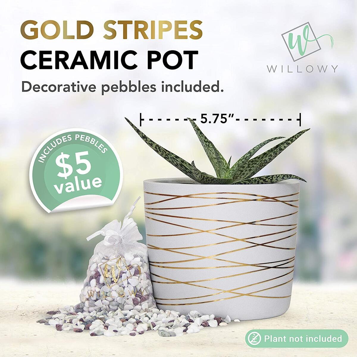 6 Inch Ceramic Plant Pot - Small White Planter with Gold Stripes - Drainage Plug and Decorative Pebbles Included