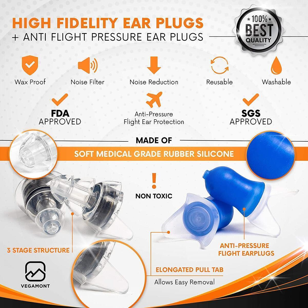 VEGAMONT High Fidelity Earplugs - Ear Protection That Filters and Reduce Unhealthy Noise (Sleeping, Shooting, Airplane, Motorcycling, Industrial, Mowing, Concerts, Musicians, DJ)