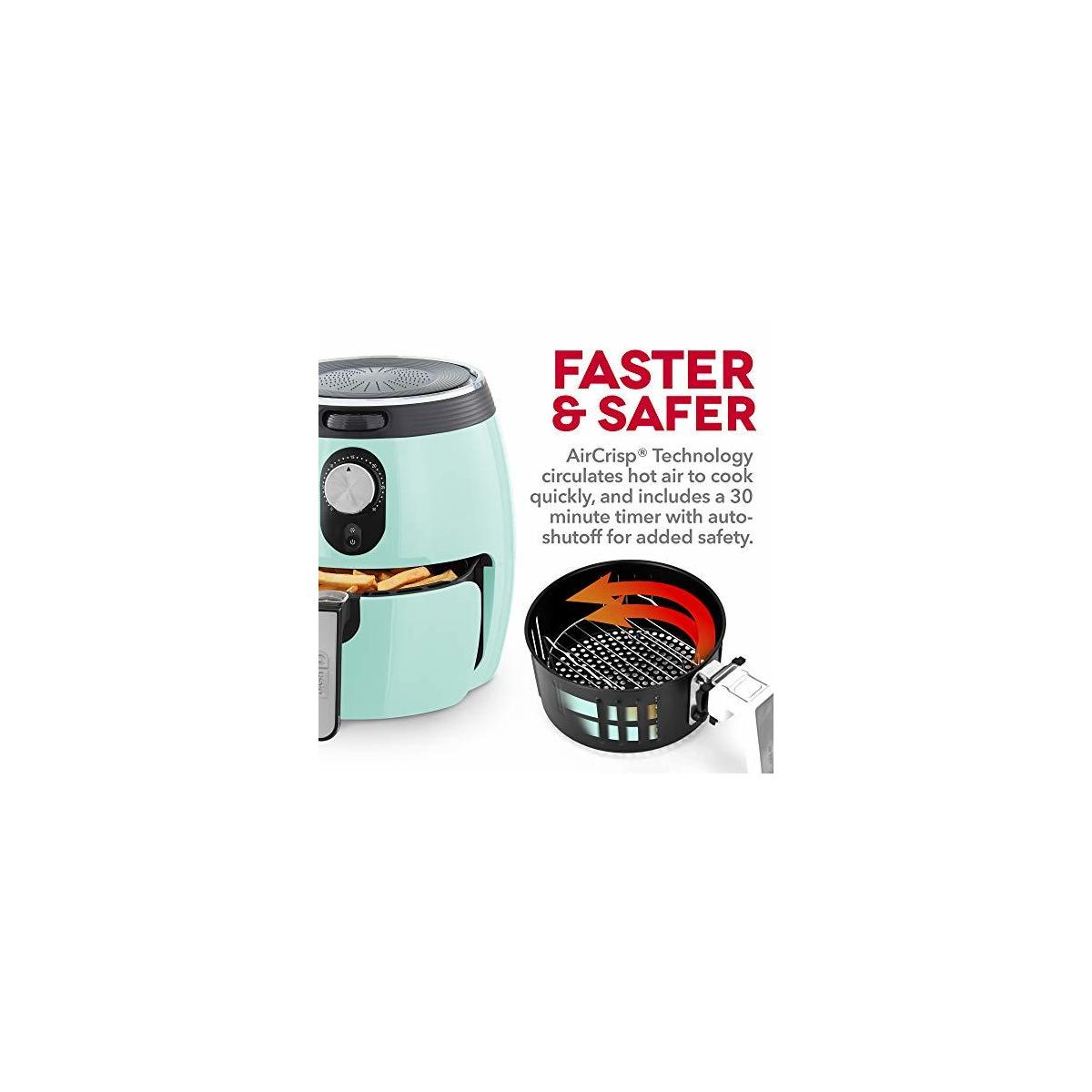 DASH DMAF355GBAQ02 Deluxe Electric Air Fryer + Oven Cooker with Temperature Control, Non Stick Fry Basket, Recipe Guide + Auto Shut off Feature, 3qt (ALL VARIATIONS)