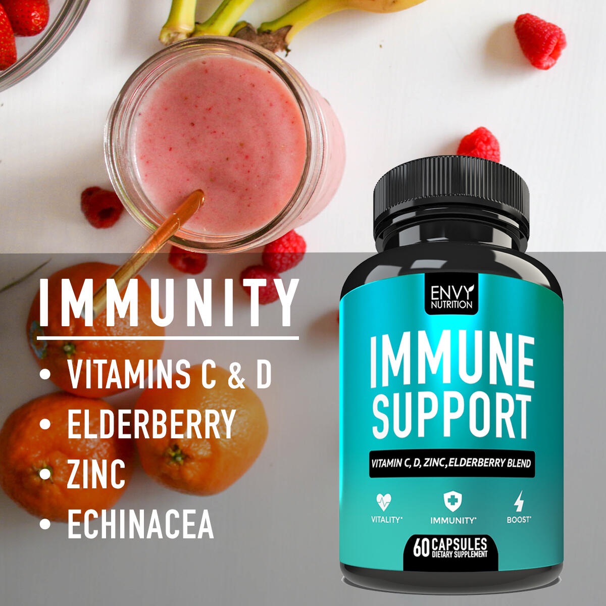 Immune Support - Immunity Boost Supplement with Elderberry, Vitamin C, Echinacea and Zinc - Once Daily Immune System Booster for Adults - 60 Capsules