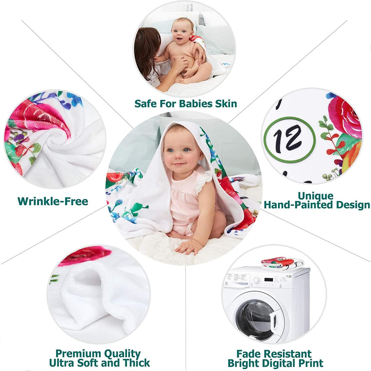 Baby Monthly Milestone Blanket Girl – Baby Age Month by Month Blanket – Premium Quality - Floral Baby Photo Memory Blankets for Newborns – Growth Chart Gift Blanket for Baby Pictures with Headband