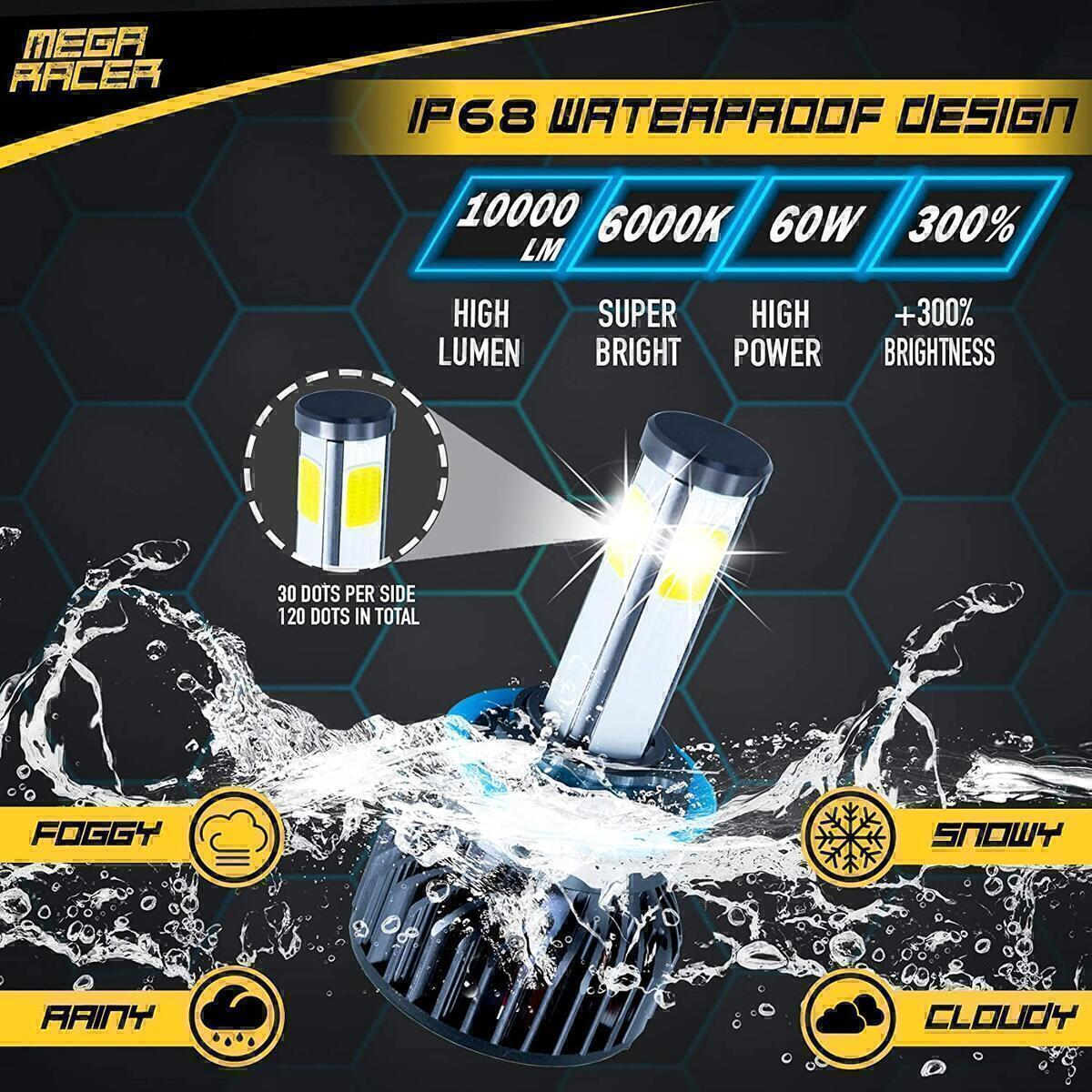 Mega Racer 4 Sided H11/H8/H9/H16 LED Headlight Bulbs for Low Beam/Fog Light/High Beam 60W 6000K 10000 Lumens Super Bright White COB IP68 Waterproof, Pack of 2