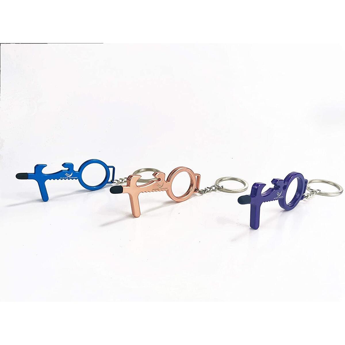 ARGIGU Anti Touch Door Opener Tool Multifunctional No Touch Door Opener Hand Tool 3Pcs Set Blue, Purple, Rose Gold Serves as Bottle Opener and Stylus Pad - Key Ring Included