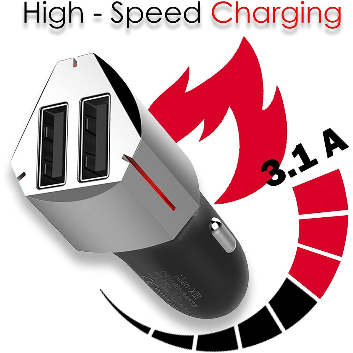 USB Car Charger Fast Speed Adapter - Universal Cigarette Lighter Smart Charger for Android Cell Phone - Apple iPhone - Samsung Galaxy - Portable Car Mount Charger with Double Port - Black