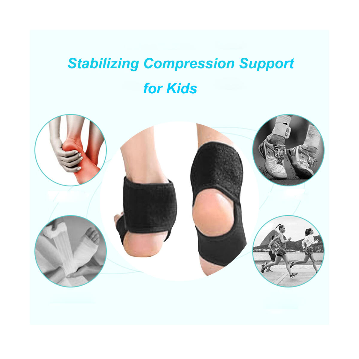 Kids Ankle Brace Supports Breathable Neoprene Ankle Stabilizer Adjustable Child Ankle Protector Wraps Sports Dance Foot Support Arch Supports for Sports Protection Joint Pain Ankle Sprain 2PCS