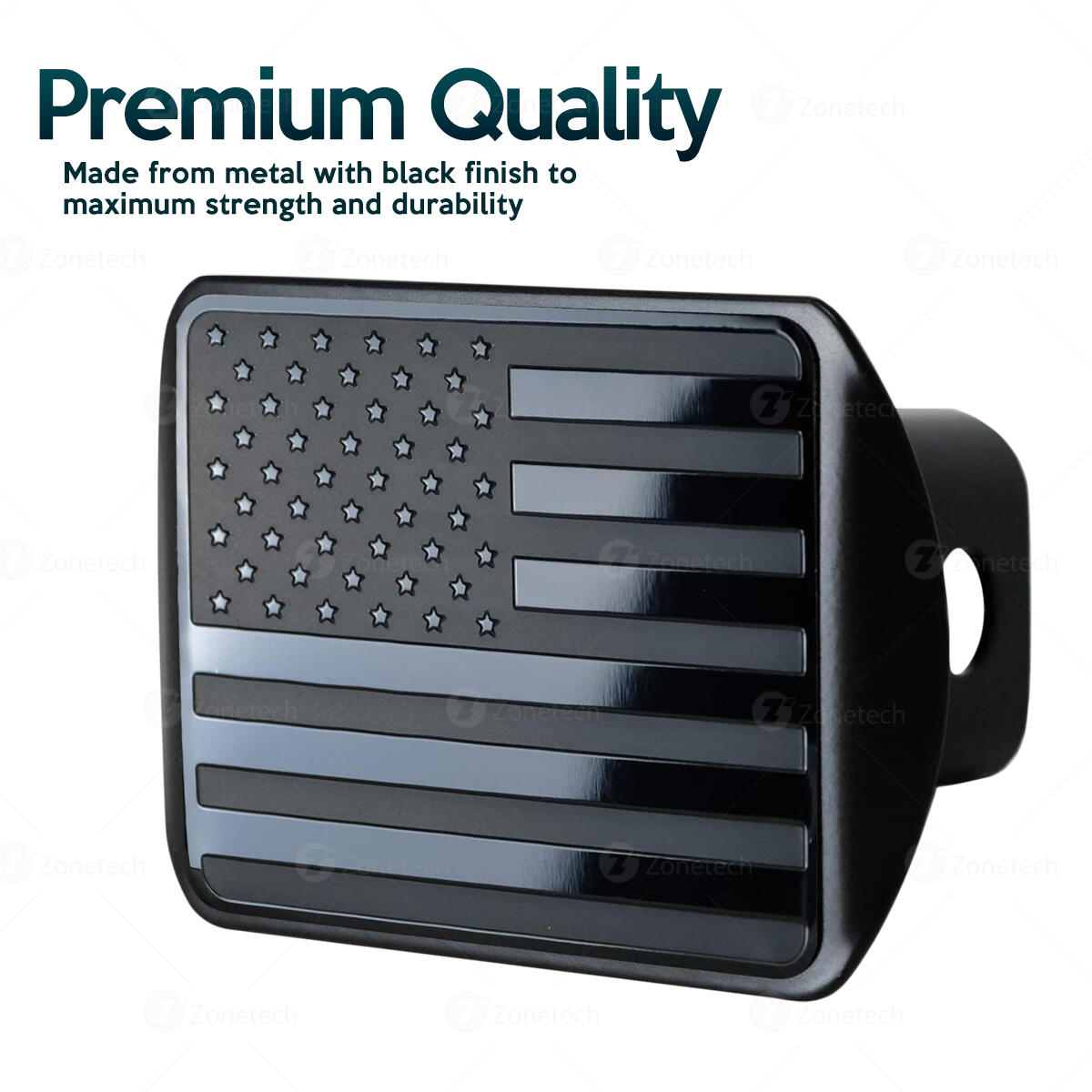 Zone Tech Tactical USA Flag Hitch Cover - Premium Quality Black Thick Durable Metal Novelty American Flag Trailer Hitch Cover -US Patriotic Pledge of Allegiance