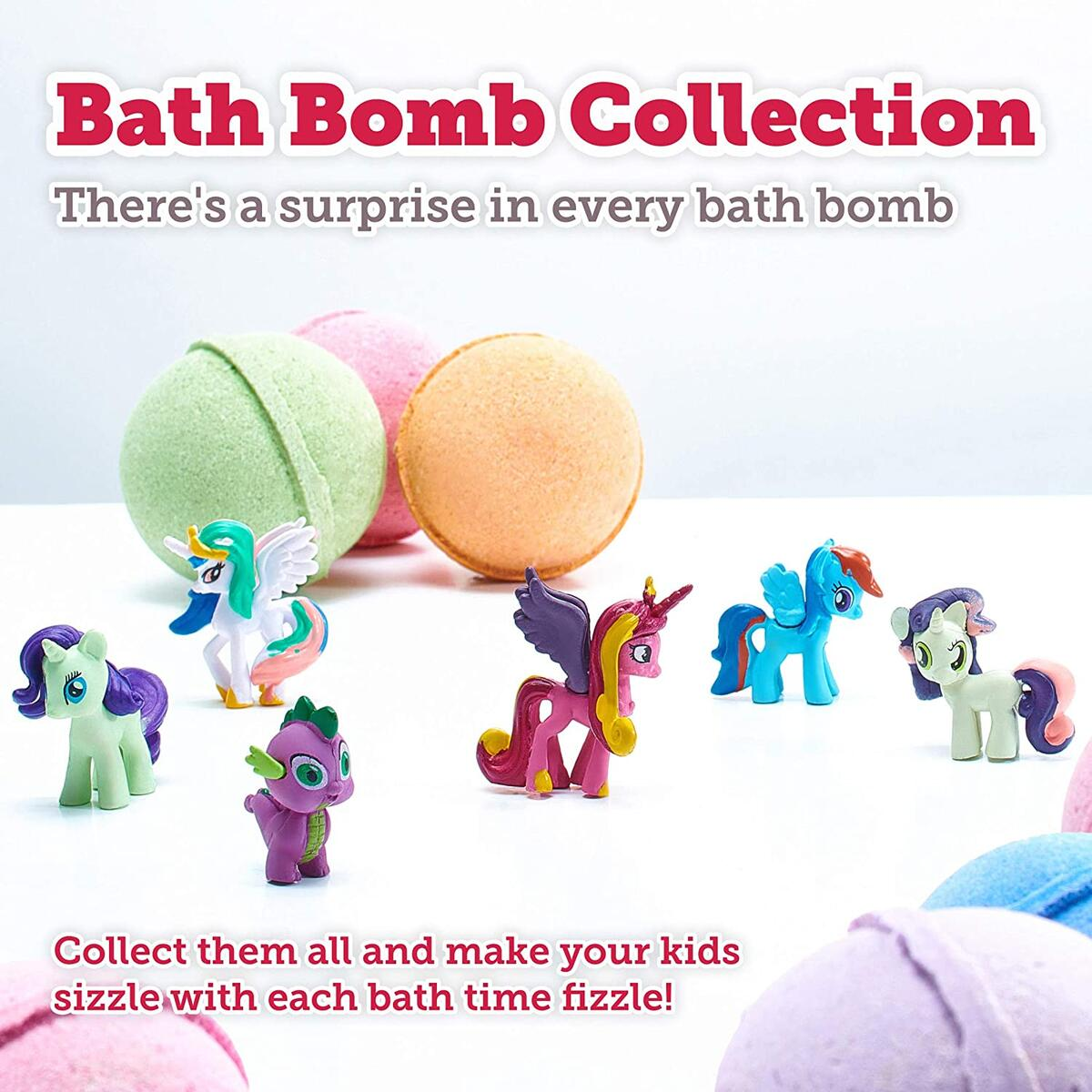 Bath Bombs for Kids with Surprise Toys Pony Inside - Bubble Fizzies with Essential Oils - Multicolored Kids Extra Large 3 Bath Bombs - Natural & Organic Ingredients Set for Girls Handmade in The USA…