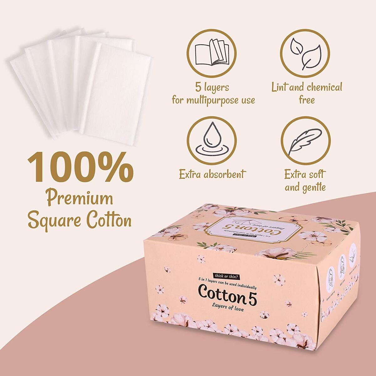 Cotton 5 - Premium Square 5 layer Cosmetic Cotton Pads for Face, Make-up and Nail Polish Remover, DIY Toner Pad/Lint Free Wipes/Suitable Sensitive Skin/ 100% Pure Cotton/Korean Skin Care Routine