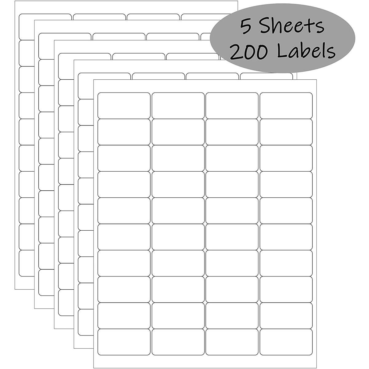 2x1 inch White Waterproof Labels For Inkjet Printer or Laser | Smudge-Proof, Oil-Proof Essential Oil Labels | Labels for Food, Bottles, Pantry, Lip Gloss, & Jars| 200 labels (5 sheets x 40 labels)