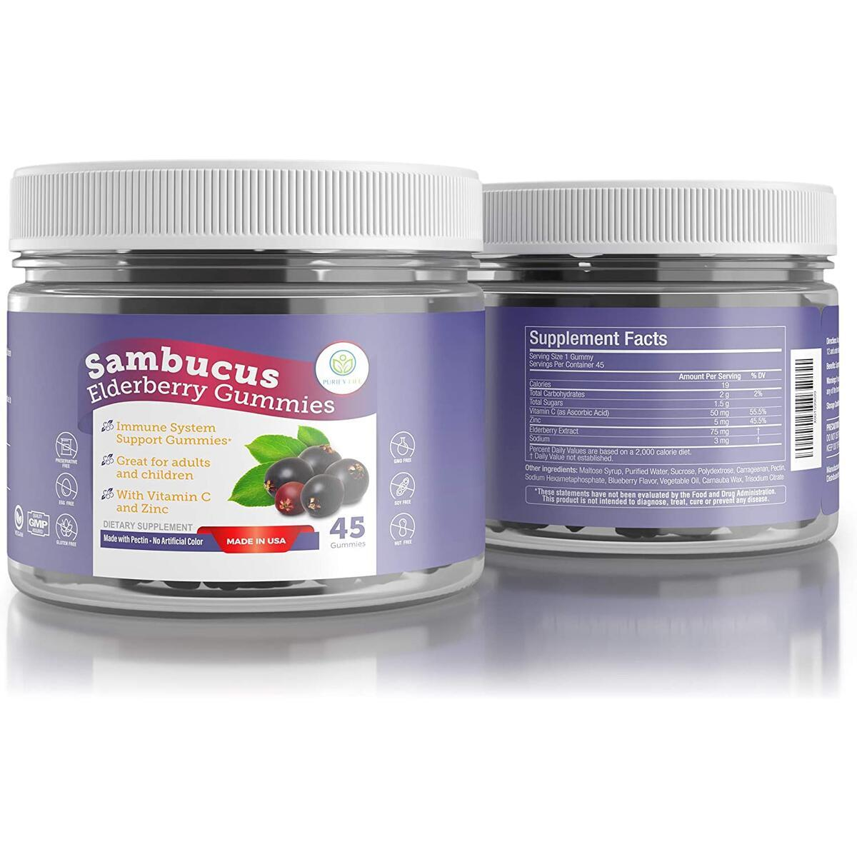 Elderberry Gummies for Kids & Adults - Sambucus, Vitamin C and Zinc (45 Gummies) 130mg Immune System Support Booster - Allergy Cold Relief - Chewable Supplement - No Capsules, Pills, Tablets or Syrup