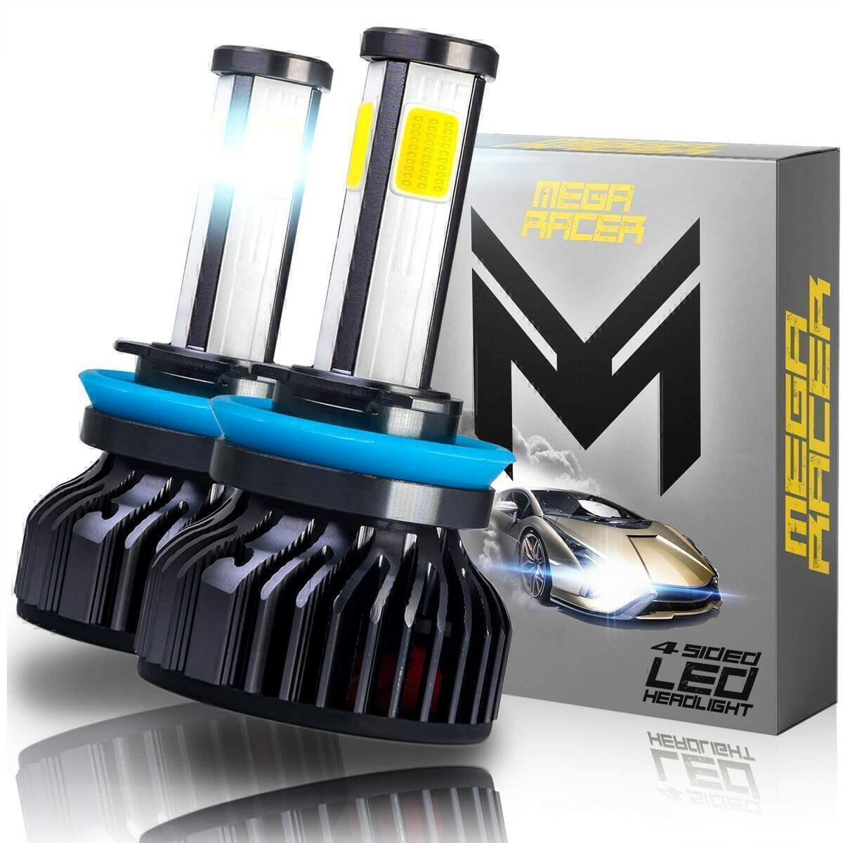 Mega Racer 4 Sided H11/H8/H9/H16 LED Headlight Bulb - Low Beam, High Beam, or Fog Light 60 Watt 6000K Diamond White 10000 LM COB IP68 Waterproof Rating, 2 Pieces