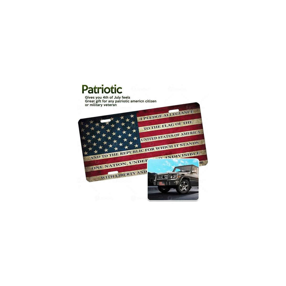 Zone Tech Tactical USA Flag License Plate Black and White Grunge Premium Quality Thick Durable Novelty American Patriotic Pledge of Allegiance