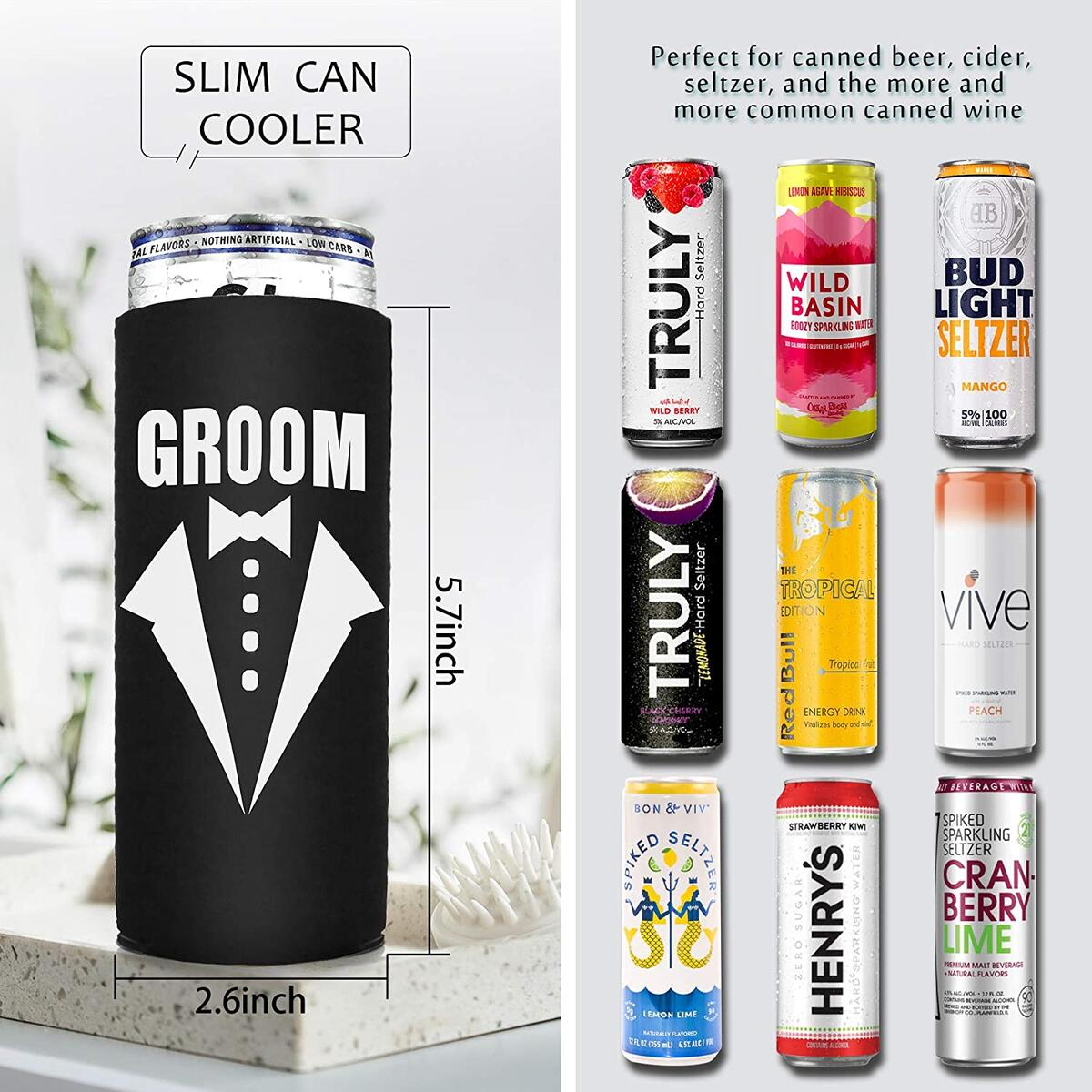 Bride And Groom Coozie Wedding Gifts For Couples Engagement Gifts For Bride And Groom Gifts Bride Coozie Wedding Coozies Skinny Can Coozie White Claw Coozie Slim Can Coolers Engagement Cooler