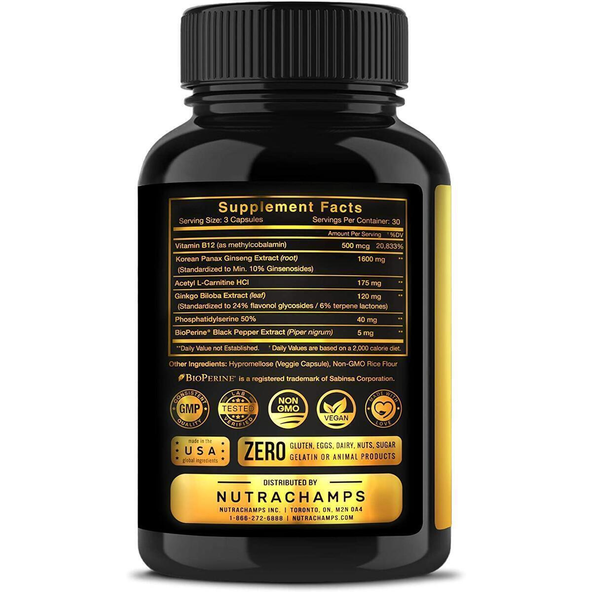 Korean Red Panax Ginseng 1600mg Gold Series - Vegan Capsules with Ginkgo Biloba, Vitamin B12, Acetyl L-Carnitine & BioPerine - Maximum Strength Root Extract 10% Ginsenosides - Energy & Focus Pills